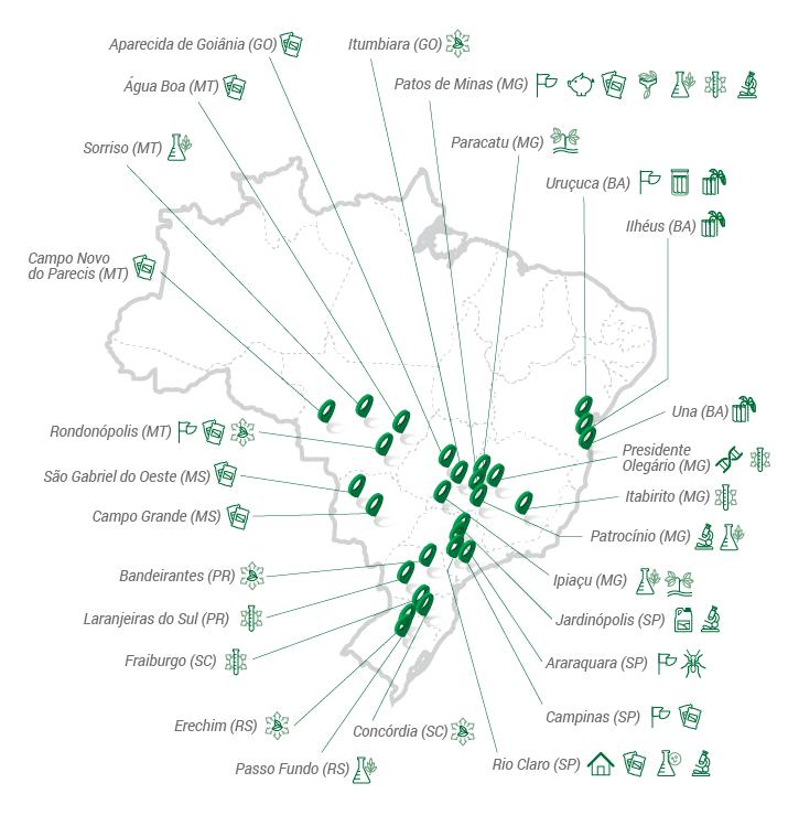 Mapa com todos os setores da Agroceres